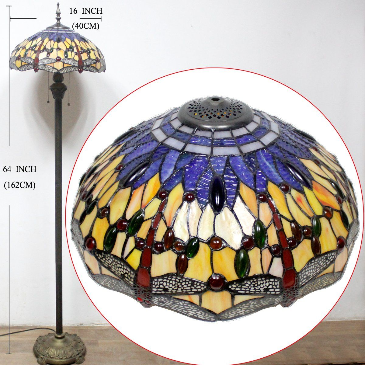 Werfactory Tiffany Lamp Floor Reading Light 64 Inch Tall Blue Yellow Dragonfly Lampshade For Living Room Go To The Pic Lamp Lamp Shade Floor Standing Lamps
