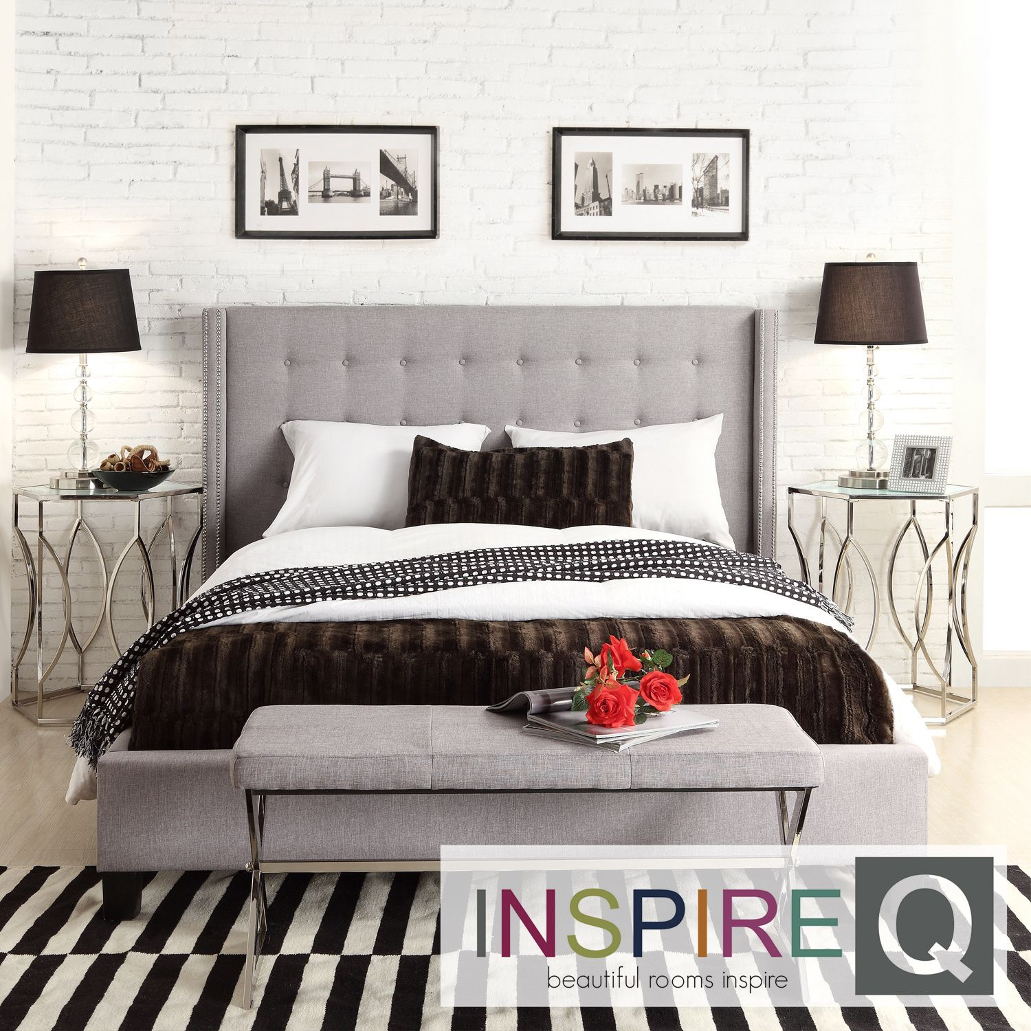 INSPIRE Q Marion Grey Linen Nailhead Wingback Tufted Upholstered Bed by iNSPIRE  Q