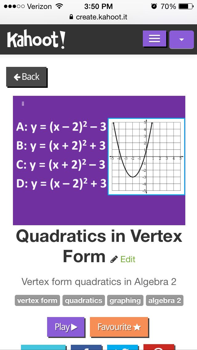 Quadratics In Vertex Form Kahoot To Get You Through The Week Math