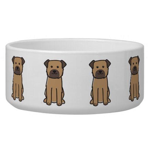 Border Terrier Dog Breed Cartoon Bowl Dog Water Bowls
