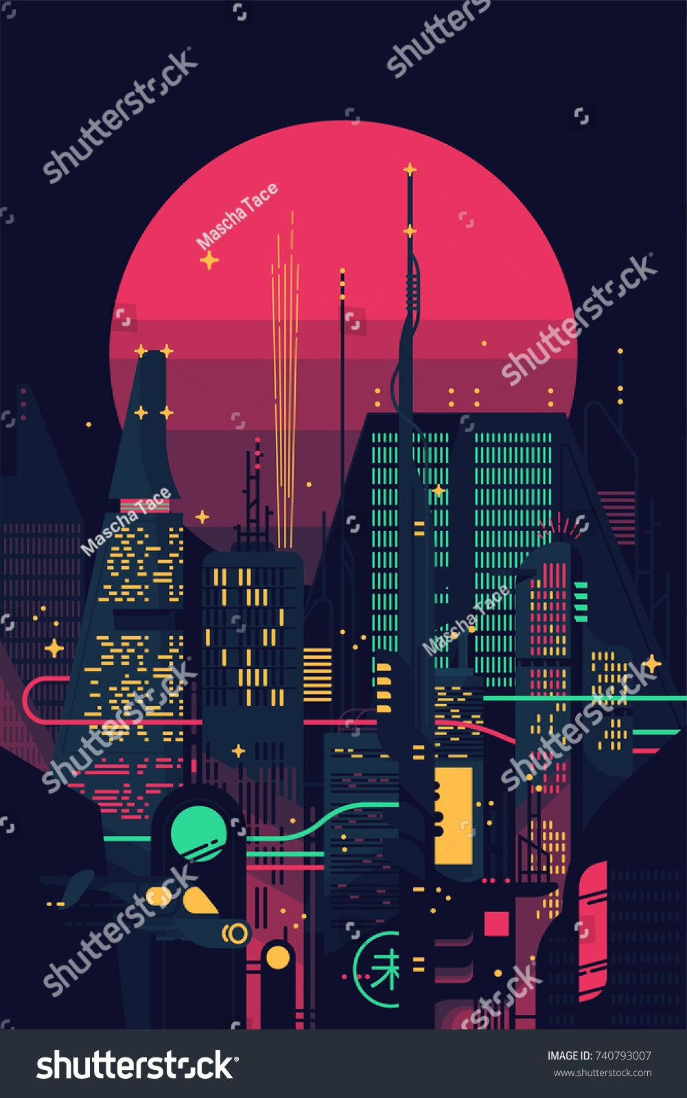 Cool retro futuristic synthwave background with night dystopian