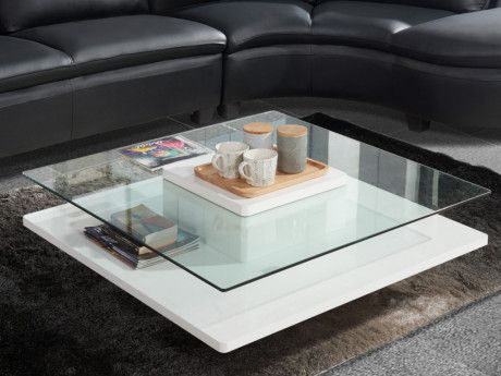 Table Basse Isania Verre Trempe Mdf Blanc Table