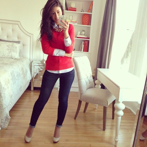 Image result for red sweater outfits | Styles I like | Pinterest ...