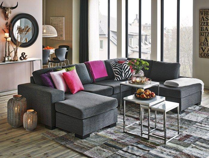 schäslong soffa ~ memphis 3sits soffa med schäslong och divan i tyg flash