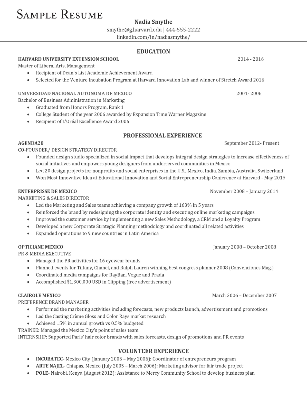 Here S An Example Of The Perfect Resume According To Harvard Career Experts Perfect Resume College Resume College Resume Template