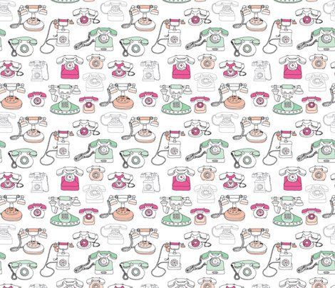 Colorful Fabrics Digitally Printed By Spoonflower Vintage Telephone Who S Calling Communication Fabric Pattern Pattern Fabric Patterns Fabric