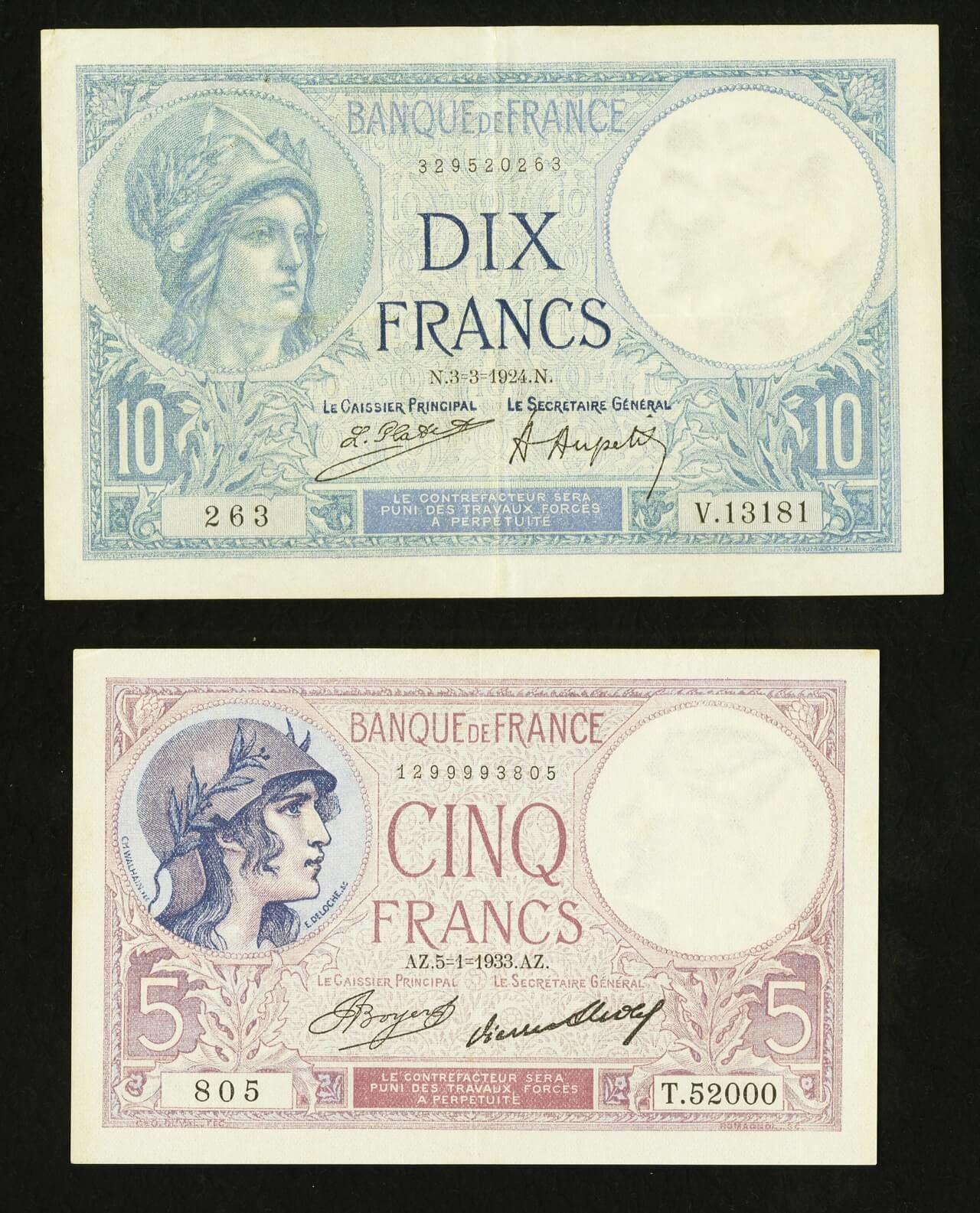 France Banque de France 5; 10 Francs 1924-33 Pick 72e; 73c