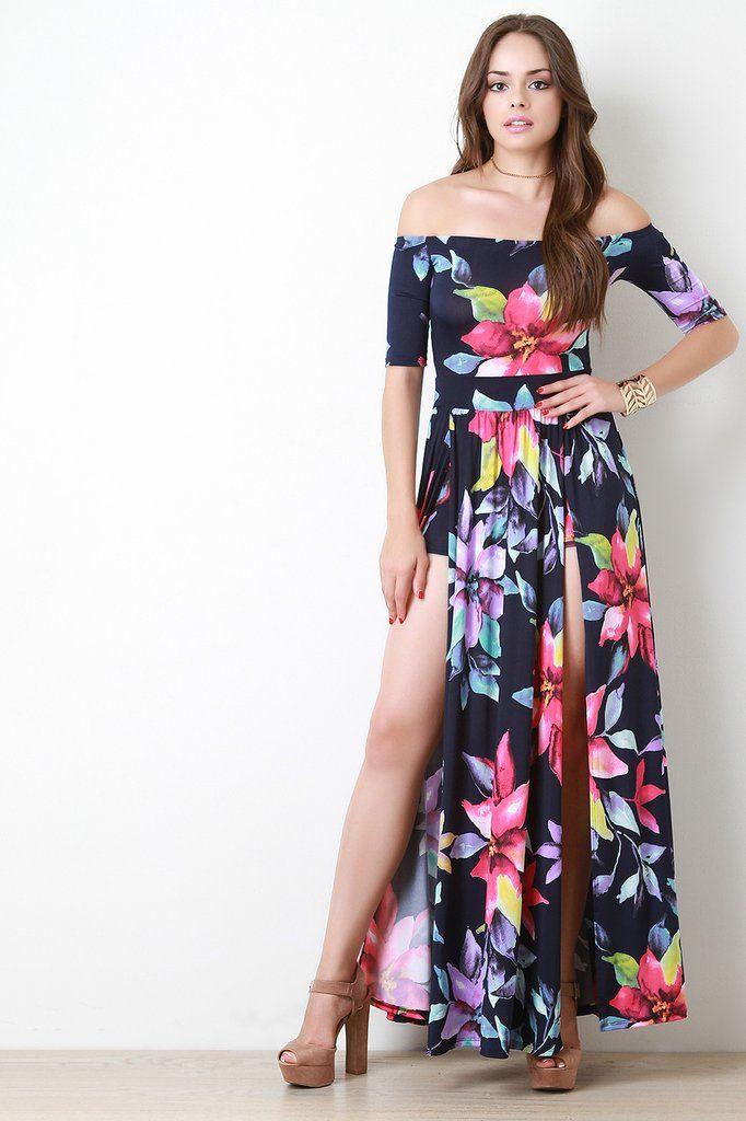 dad9e0accab4 Floral Pattern High Vent Slit Bardot Maxi Dress   Bow blouses ...