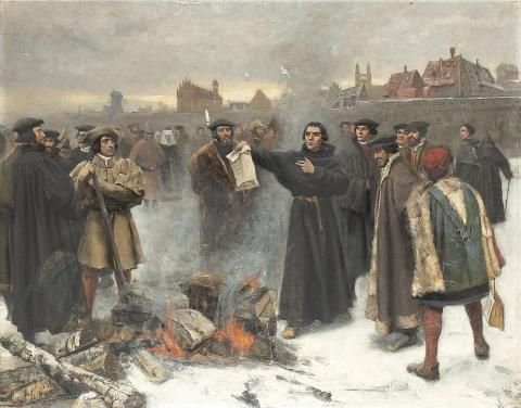 Luther Burns the Papal Bull in the Square of Wittenberg Year 1520.