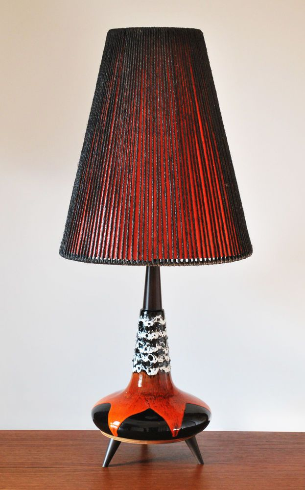 Mid Century Modern Lamp Shades Captivating Mid Century Modern Ceramic Volcanic Fat Lava Glaze Tripod Large Decorating Inspiration