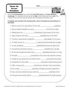 Homophones and Homographs Worksheets | Education.com