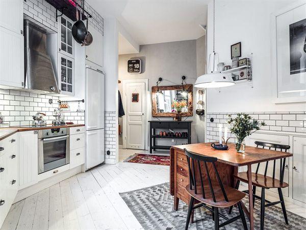 creative scandinavian interior of a duplex loft apartment in kungsholmen swedish kitchensubway tilesdream
