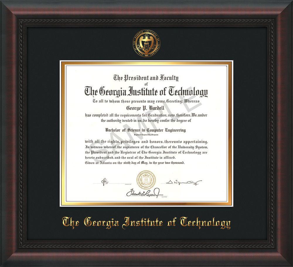 Georgia Tech Diploma Frame - Mahogany Braid - w/Embossed Seal & Name ...