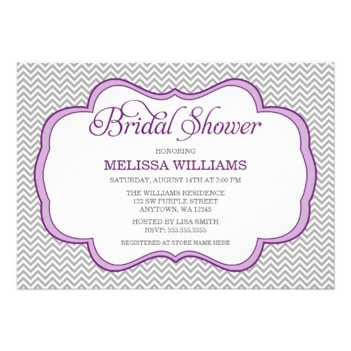 Gray Chevron Purple Frame Bridal Shower Custom Announcement