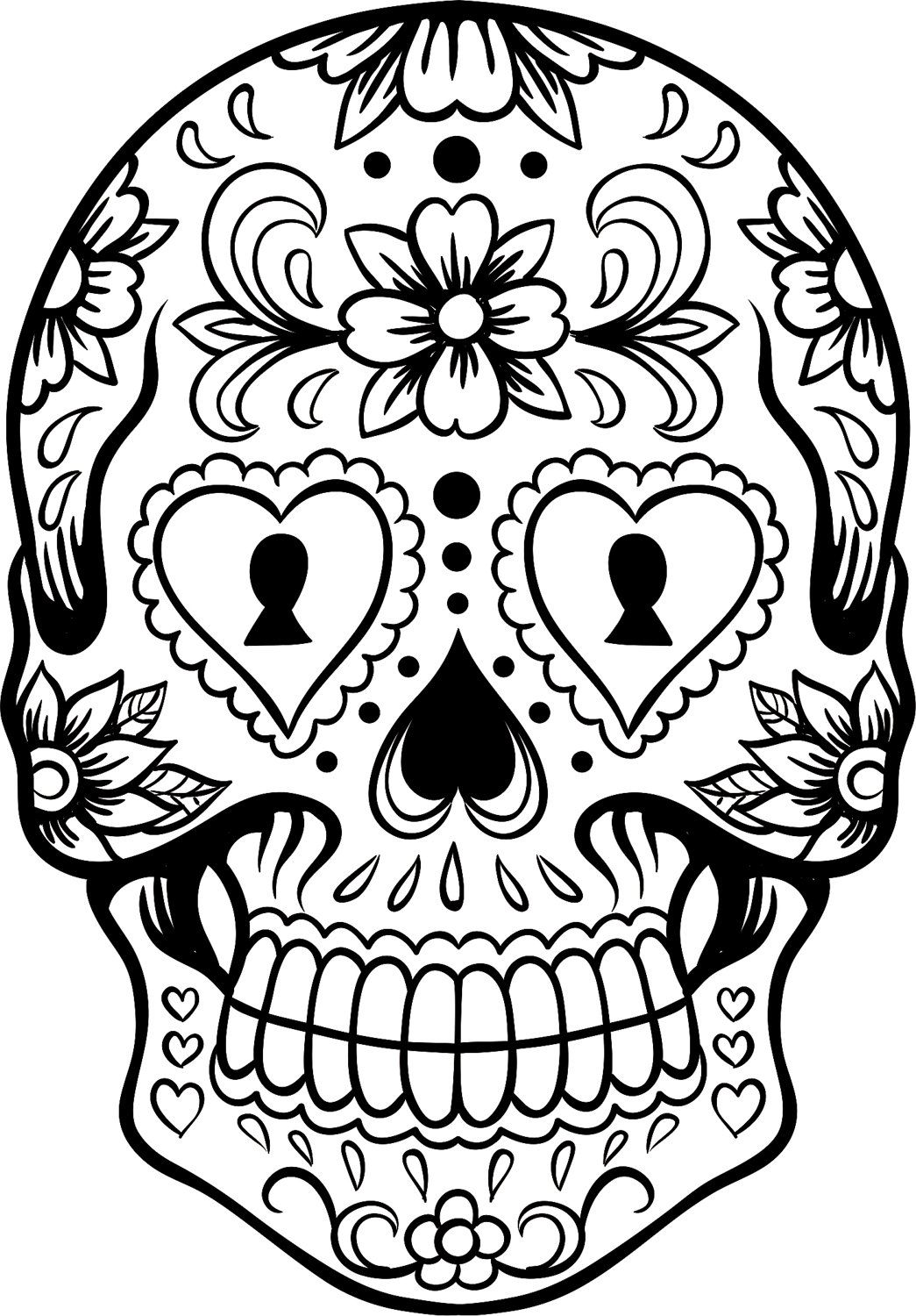 Extra Large Sugar Skull Version 6 Wall Vinyl Decal Sticker Art Tons Of Skulls To Color