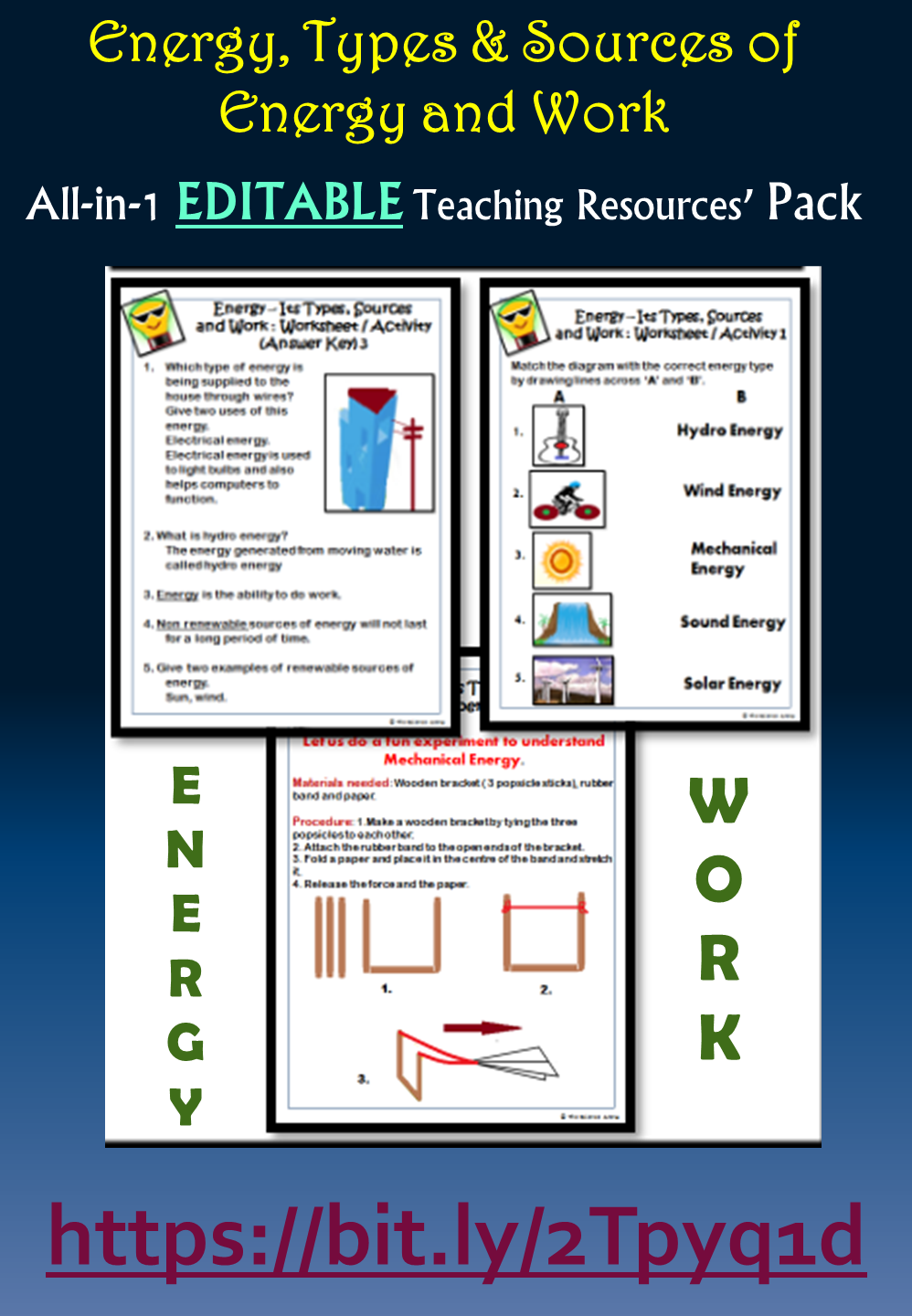 Energy Types Sources Of Energy And Work All In 1 Editable Pack Grades 3 6 Middle School Resources Science Resources Teaching Resources [ 1440 x 998 Pixel ]