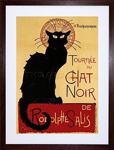 9x7 INCH BLACK CAT CHAT NOIR RODOLPHE SALIS PARIS FRANCE VINTAGE ...