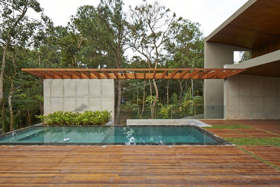 marvelous wooden deck around a pool with perimeter overflow pool ideas for rectangle swimming pool designs. Interior Design Ideas. Home Design Ideas