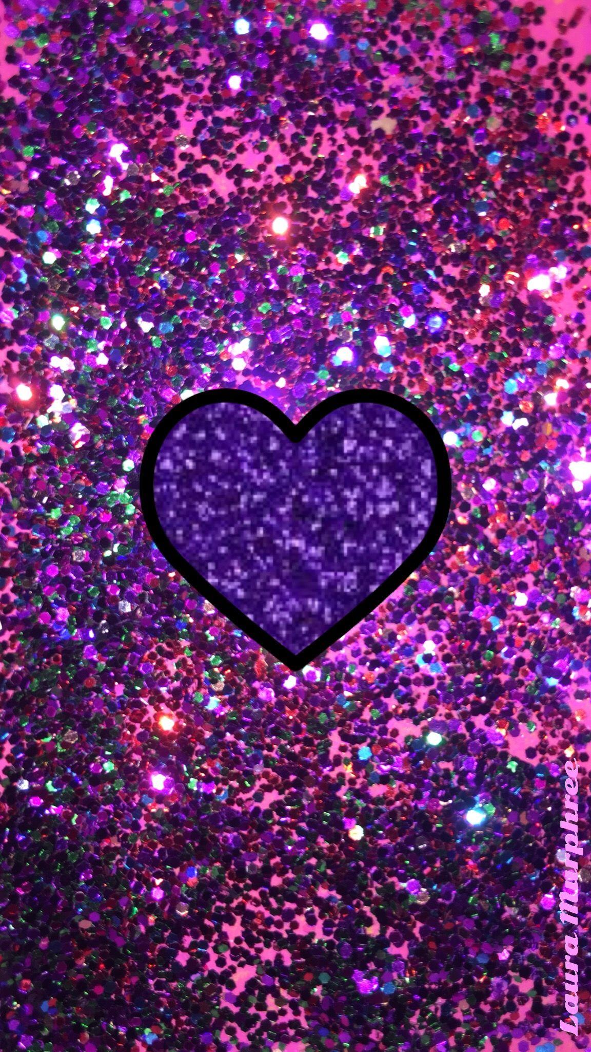 Glitter heart phone wallpaper sparkling background bling