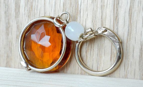Amber Rhinestone Keychain Topaz Colored Key by BunnyFindsVintage