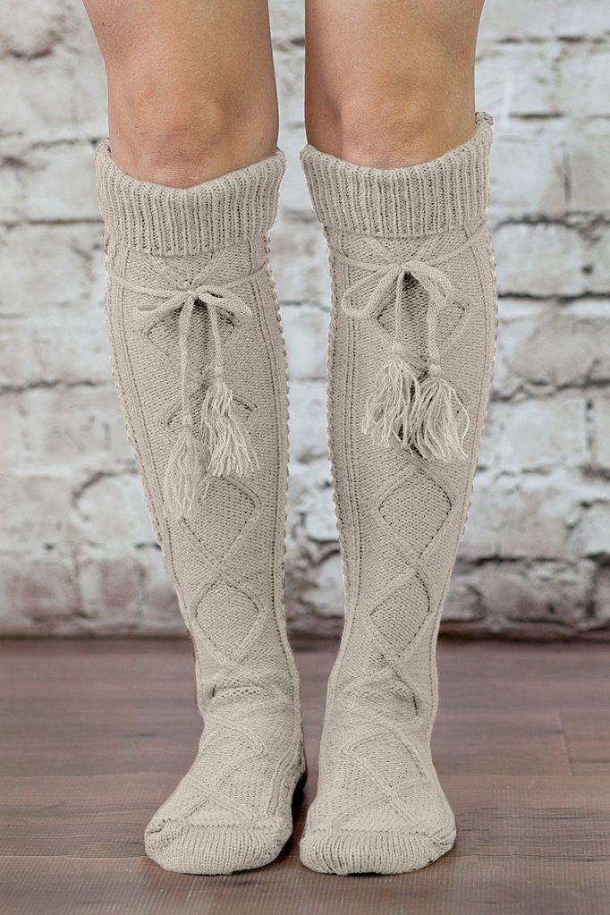 bf708b42b Alpine Boot Socks Tan Beige Thigh High Tie Top Tassels Thick Boho Oat  Oatmeal Diamond Cable Knit Slouch Or Fold Down Cuffs Over The Knee
