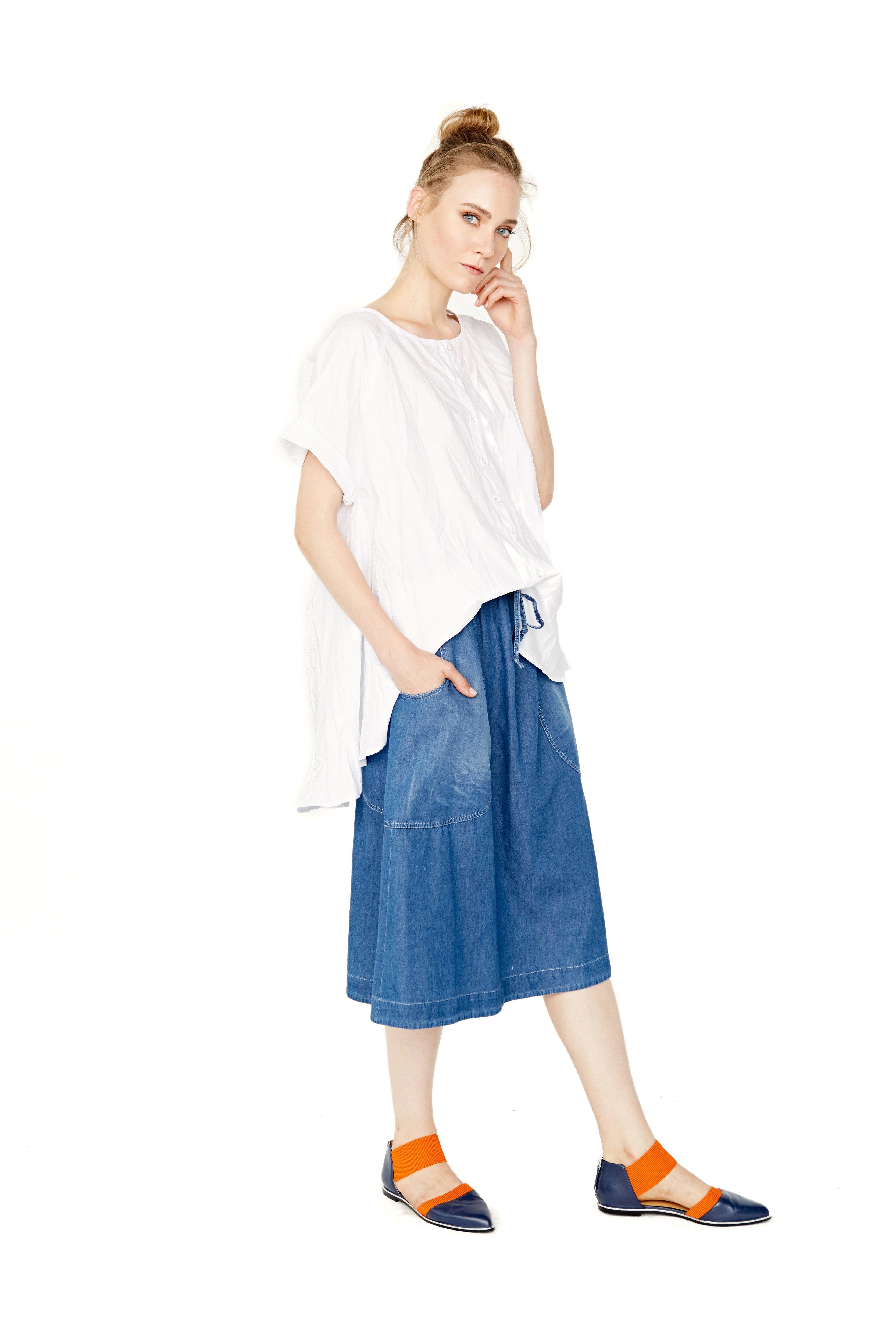 Alembika Spring/Summer 2017 White Hi Lo Shirt With Denim Skirt