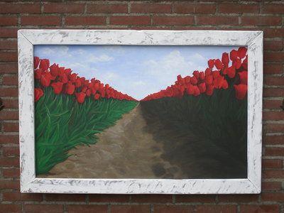 Schilderij tulpen, olieverf op canvasdoek ca. 115 x 75 cm in oude witte lijst... Bee Original, Bee Creative