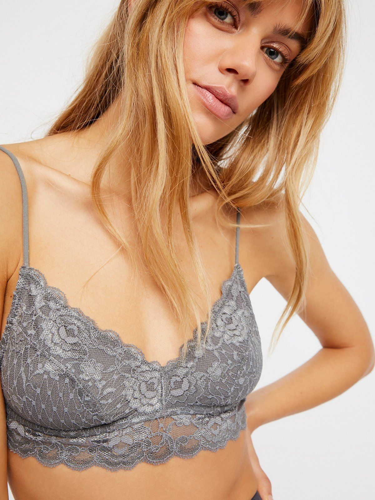 Essential Lace Sweetheart Bralette | Sheer lace bralette featuring a sweetheart neckline and a non-adjustable elastic band around the bust. Sheer mesh lining.