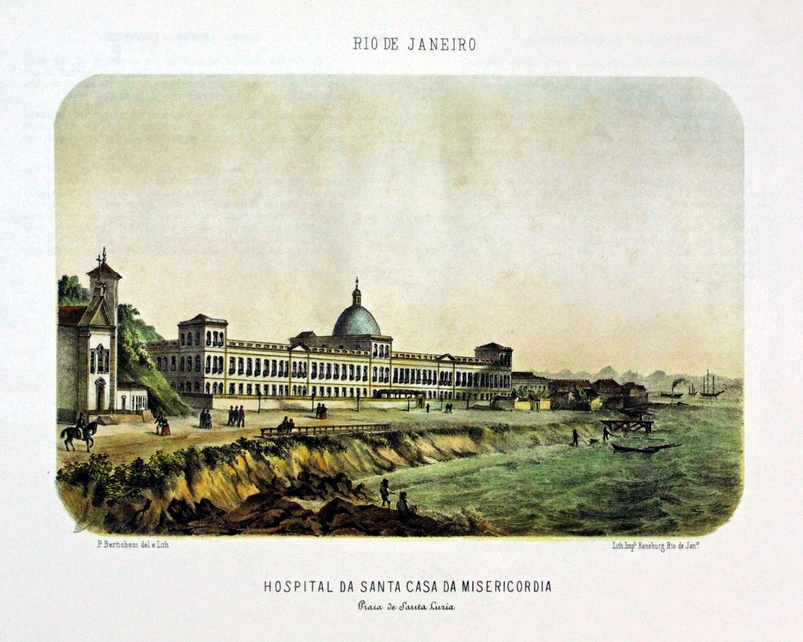 Pintura de  Pieter Godfred Bertichem, 1856. Santa Casa. Na praia, vê-se, à esquerda, a Igreja de Santa Luzia.  http://historiasemonumentos.blogspot.com.br/2014/10/santa-casa-da-misericordia-do-rio.html