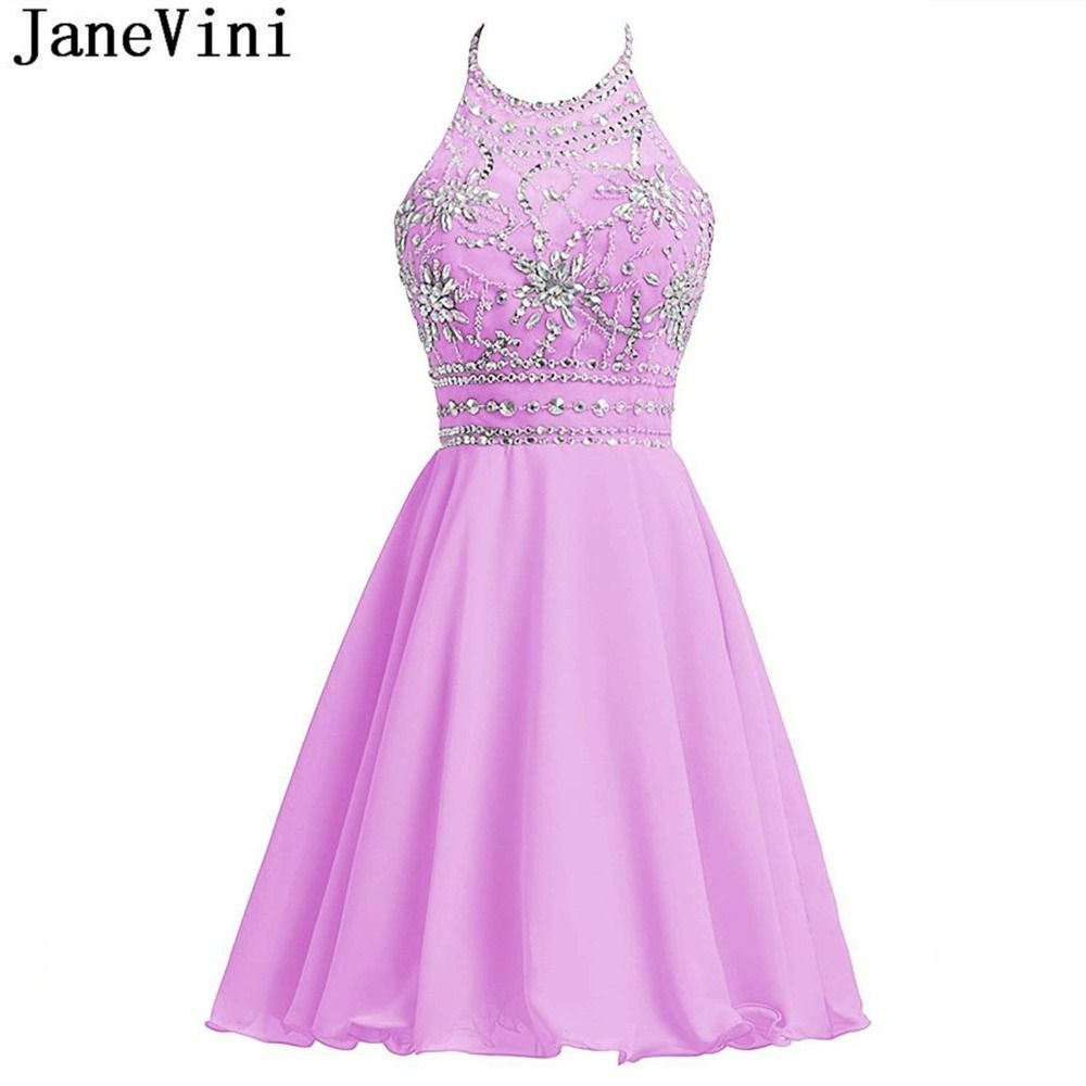 Janevini short bridesmaid dresses with crystal beaded a line