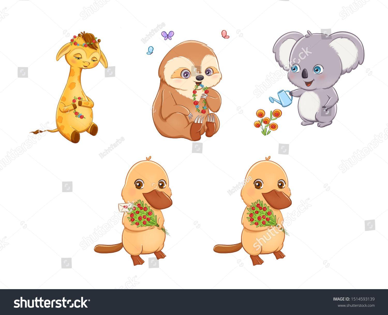 Set Of Adorable Sweet Cartoon Animals With Big Eyes Collection Of Colorful Wild Animals With Flowers Image Illustrati Cartoon Animals Animals Wildlife Animals