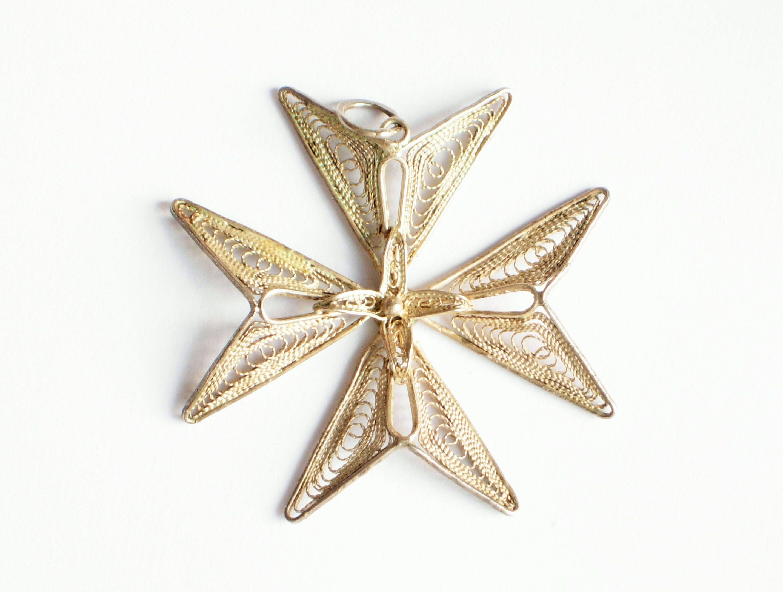 Vintage Silver Filigree Maltese Cross Pendant 917 Silver Pendant Malta Silver Jewellery Silver Cross Vintage Jewellery Cross Jewelry Silver Cross Jewelry