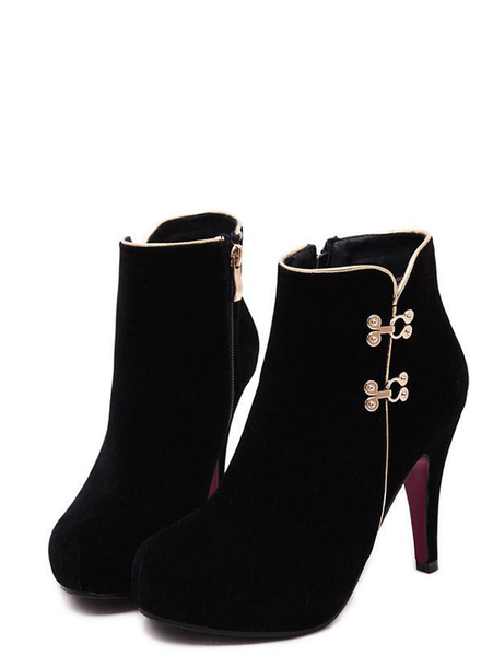 aa6164287f16 Stylish Metal Stud Pure Color Sexy Round Toe Slim Heel Women Black Boots