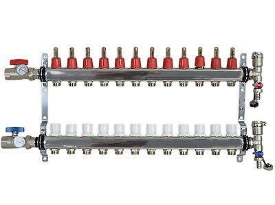 62046 Materials 12 Loop Branch 1 2 Pex Manifold Stainless Steel Radiant Floor Heating Set Kit Buy It Now Only Radiant Floor Heating Radiant Floor Flooring