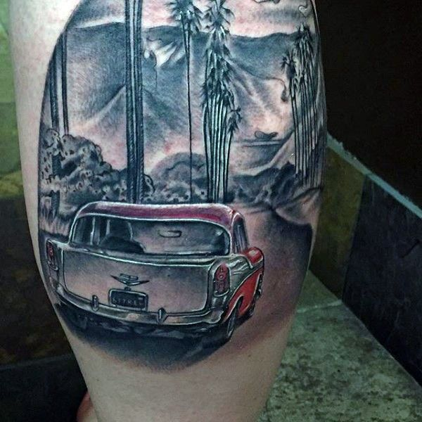 Very Realistic Looking Colored Classic Car Tattoo On Leg Car