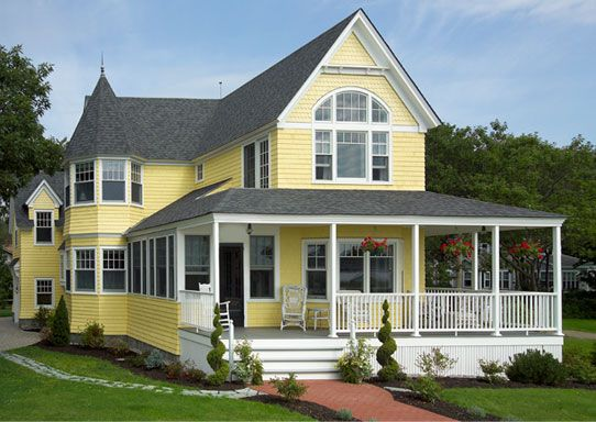 Rev tement ext rieur de bois maibec utilis bardeau individuel couleur jaune buttercup s rie - Couleur exterieur maison ...