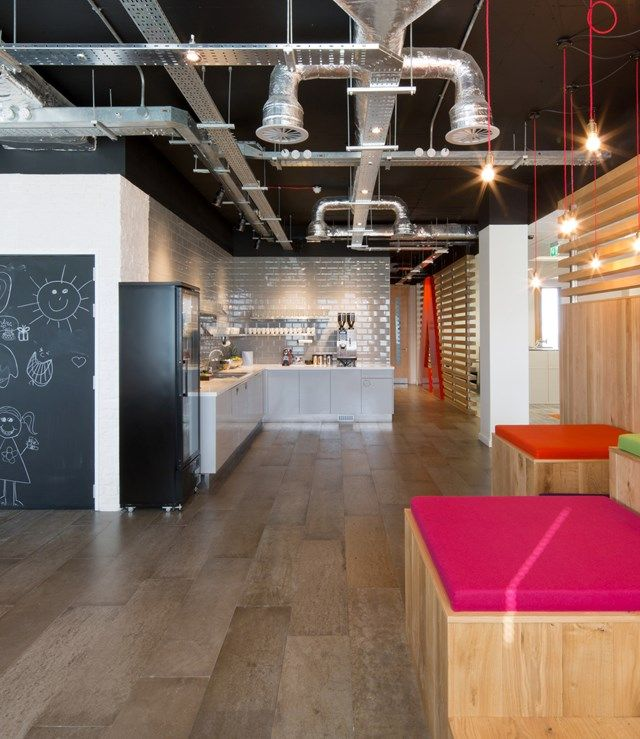 An Office Kitchen Design With Exposed Air Conditioning