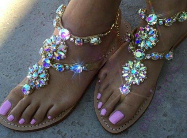 Iridescent rhinestone sandal