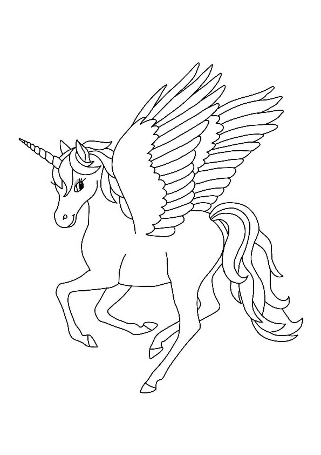 Winged Unicorn Coloring Pages in 2020 | Unicorn coloring ...