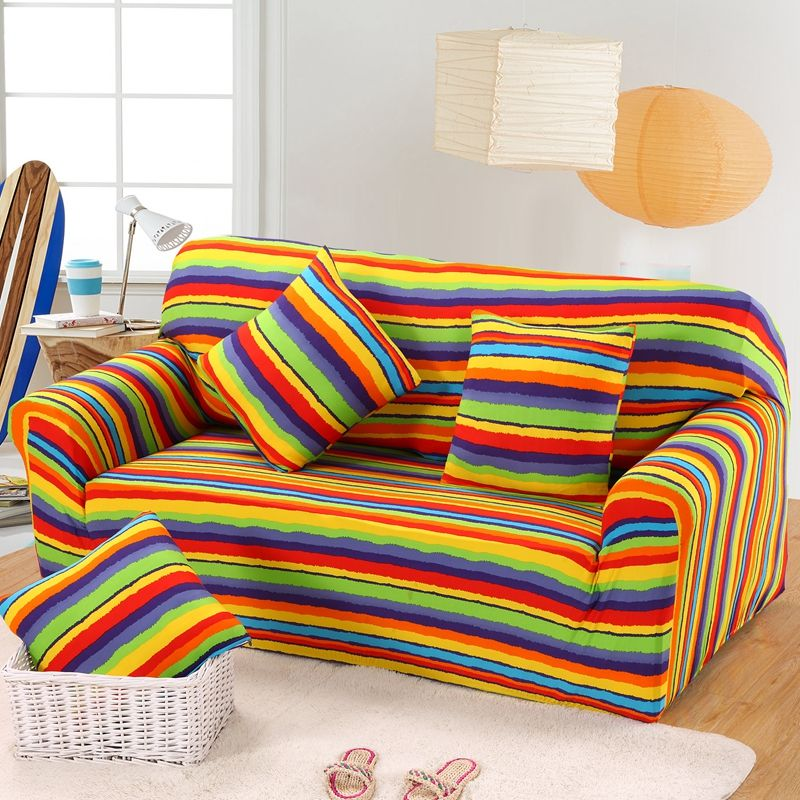 AOGUHOME STORE Decorative Rainbow Designer Full Sofa Cover Elastic  Universal Sofa Slipcover Make Up For Single