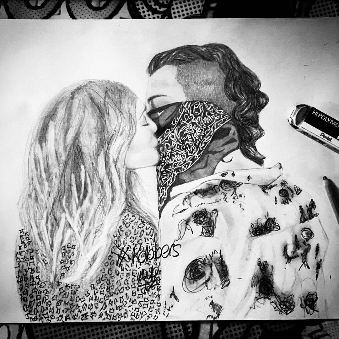 Niki king on instagram the1975 robbers music musicvideo thekiss trumanblack balaclava ifyoujusttakeoffyourmask beariot pencildrawing sketch