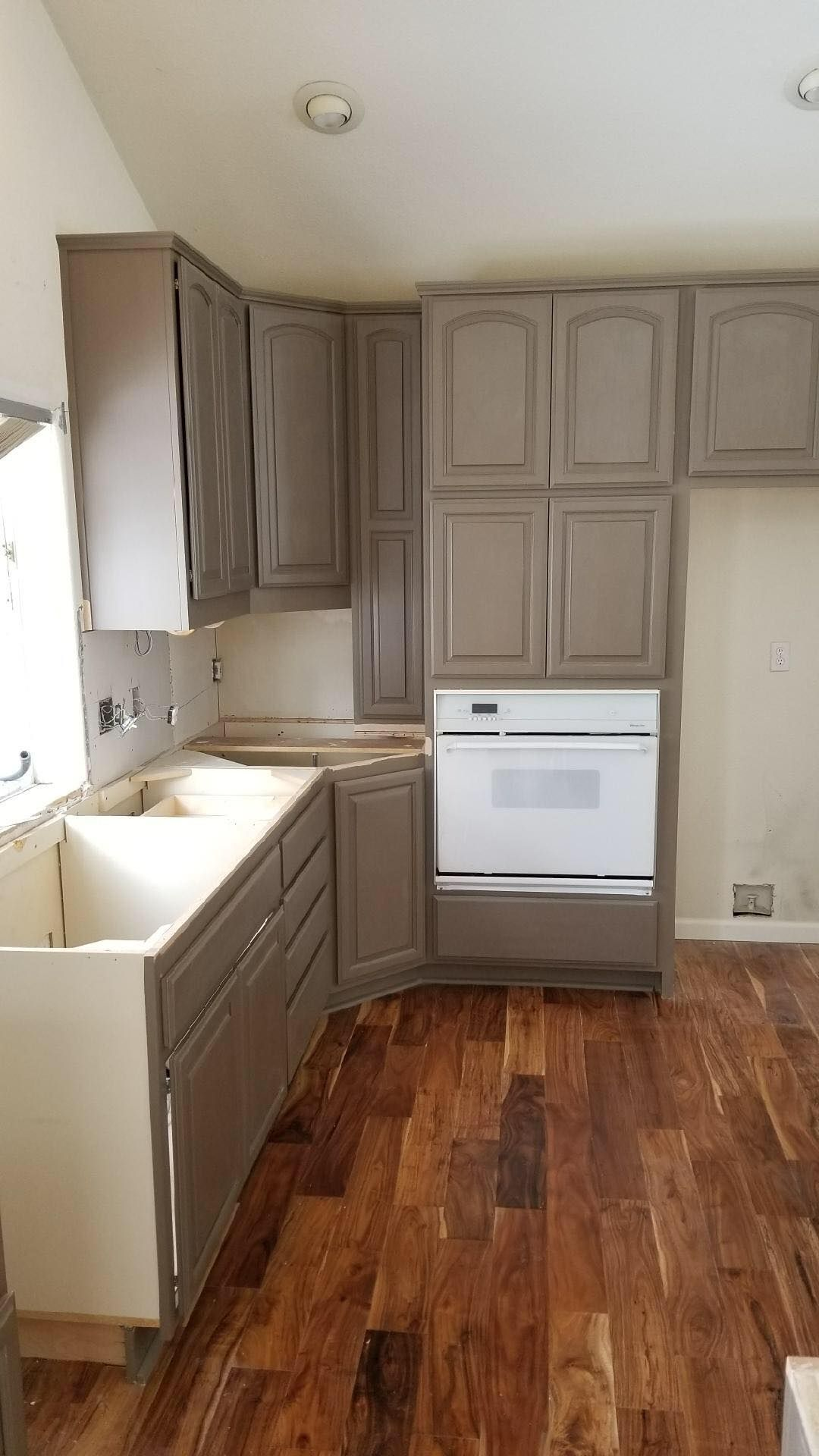 Painted Cabinets With Stained Hood And Range Paneling Stained Kitchen Cabinets Cabinets And Countertops Kitchen Cabinets