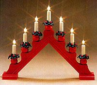 """Swedish Electric Candles& Accessories > Red """"Karin"""" Electric Candlestick Lamp, 7 candles Scandinavians like to have a light in the window all during the Advent Seas Swedish"""