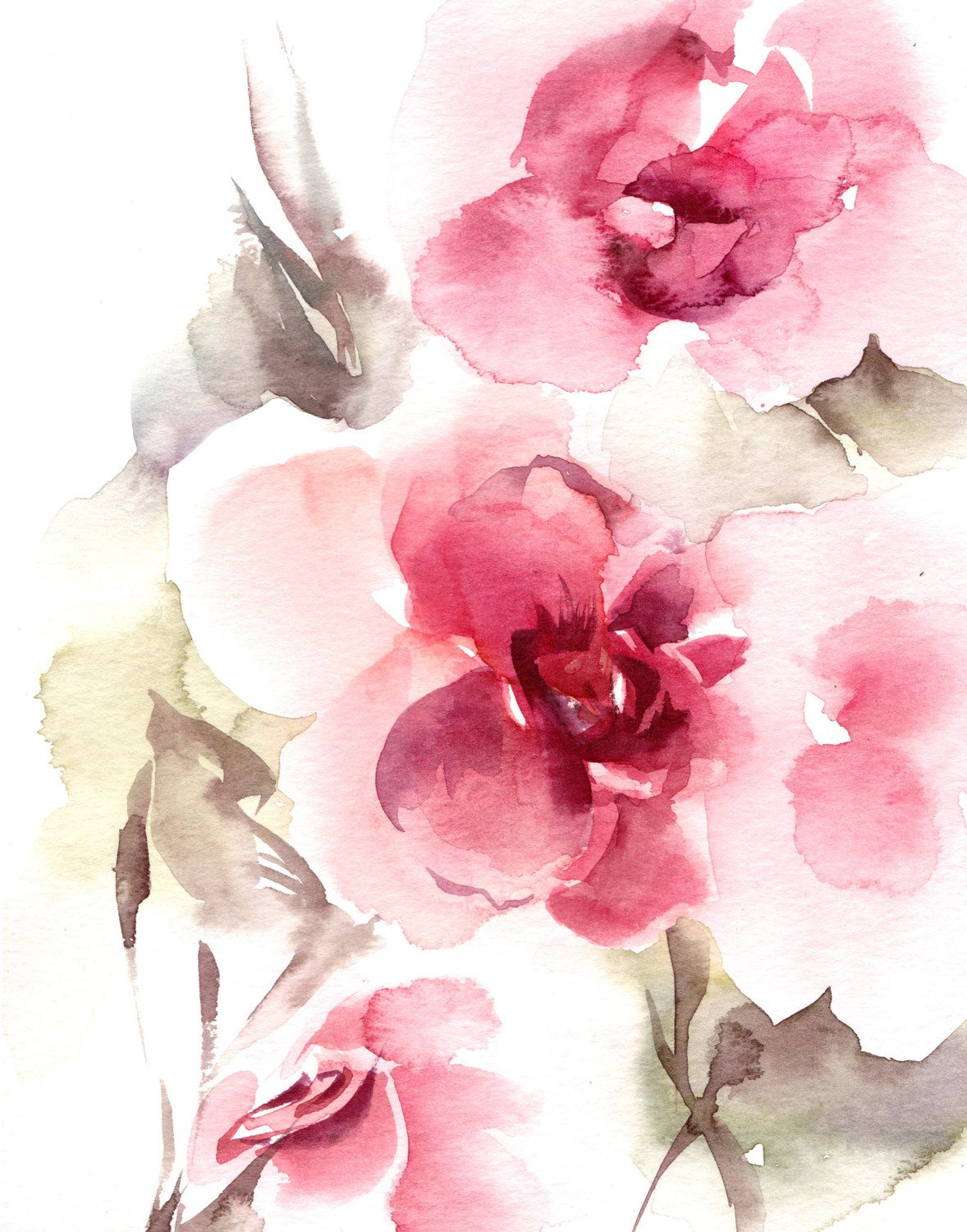 Abstract Flowers Watercolor Painting Art Print, Pink