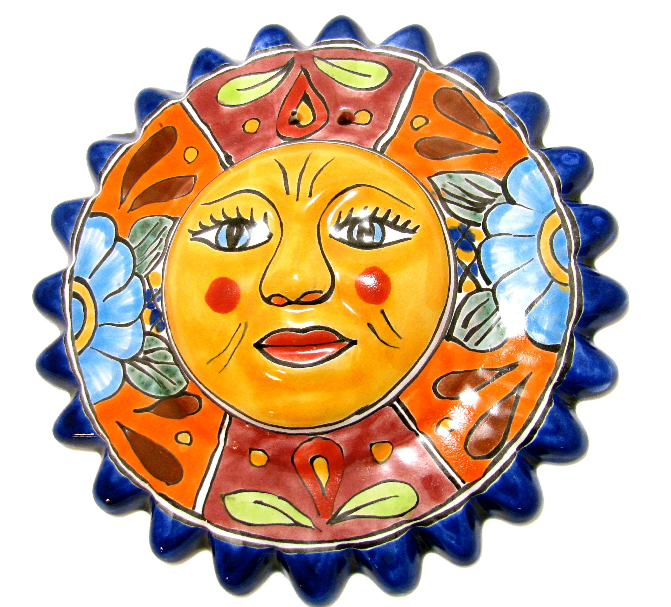 Mexican wall hanging talavera pottery sun face 10\