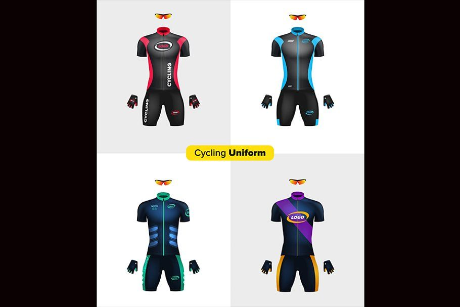 Download Realistic Vector Cycling Uniforms In 2020 Bicycle Clothing Cycling Uniform