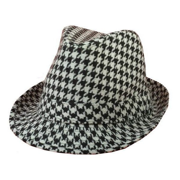 341015abf123d wholesale Houndstooth Black and White Check Pattern Fedora Gangster... ❤  liked on Polyvore
