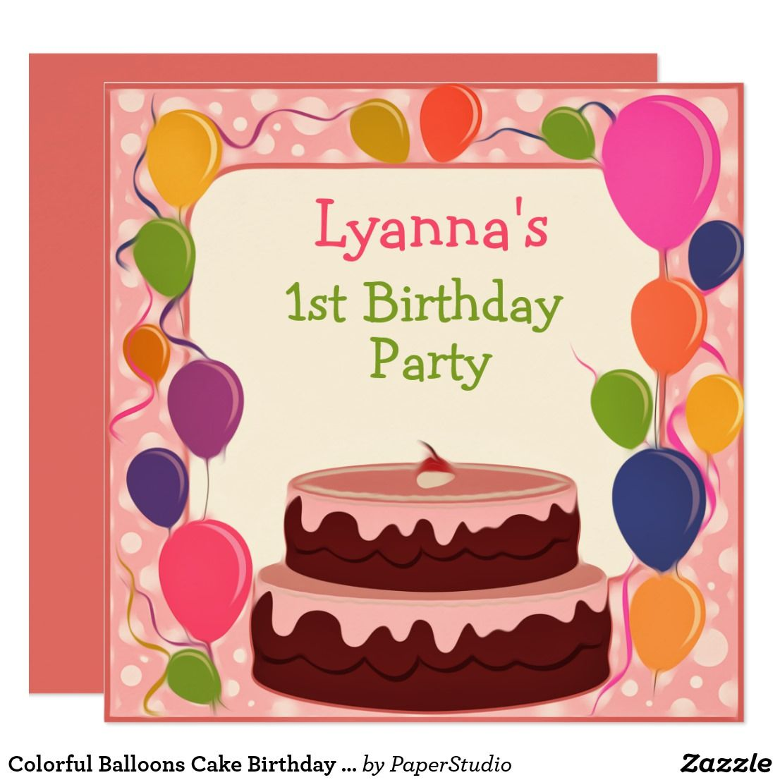 Colorful Balloons Cake Birthday Invitation Card | Celebrations Cards ...