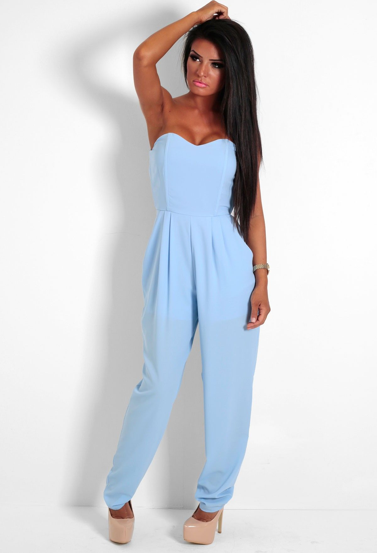 e7b0286f1af We are in love with this pastel blue jumpsuit! A classic bandeau style this  jumpsuit is perfect for a girls night out.