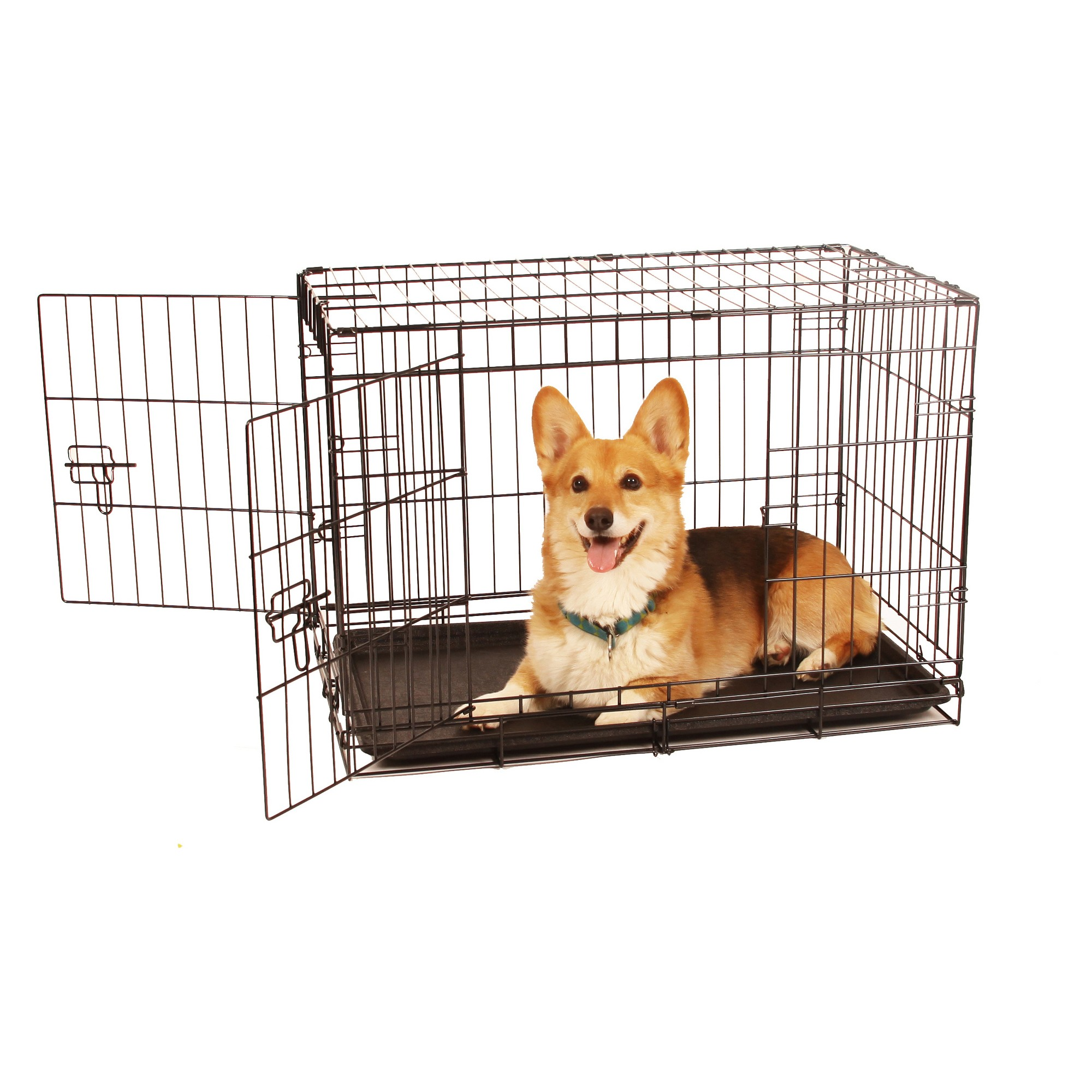 Carlson Two Door Wire Cat And Dog Crate With Divider Medium Black Wire Dog Crates Dog Crate Dog Crate Sizes